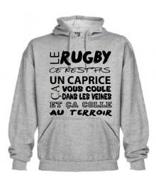 Sweat Capuche Rugby Terroir Gris