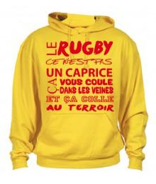 Sweat Capuche Rugby Terroir Jaune