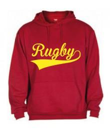 Sweat capuche Rugby Rouge