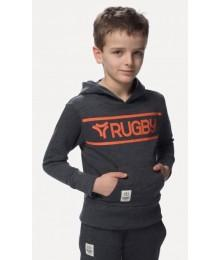 Sweat capuche Rugby Division junior Gris foncé/orange