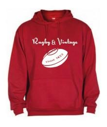 Sweat capuche Rugby & Vintage Ballon Rouge
