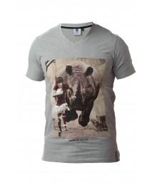 "Tee Shirt Rugby Division TOP 14  ""RHINO"" Gris"