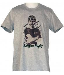 "Tee shirt Religion Rugby "" COUBERTIN JO 2016"" Gris"