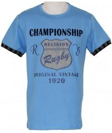 "Tee Shirt Rugby Religion ""Championship"" Turquoise"