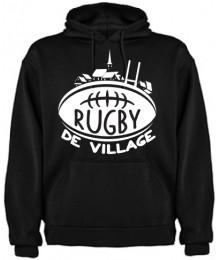 "Sweat capuche ""Village"" Noir/Blanc"